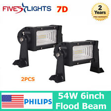 2PCS 6inch 54W PHILIPS LED Work Light Bar Off-road Driving Flood 7D Optical Lamp
