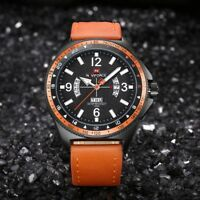 NAVIFORCE Mens Analog Military Waterproof Calendar PU Strap Quartz Alloy Watches