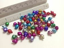 100 pieces Colorful Brass Craft Christmas Bells Supplies 6mm