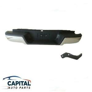 Rear Chrome/Black Step Bumper Bar with Rubber & Brackets Ford Ranger PX 2011-15