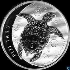 2013  Silver 1 oz. New Zealand Mint $2 Fiji Taku Turtle New Frosted Obverse
