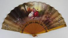 AB-145. FAN. STICKS CELLULOSE. PAINTED FABRIC. SIGNED V. LLORENS. EARLY 20TH C.