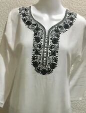 Christmas Gift For Her Plus Size  Linen Soft  Embroidered Top Kurta Dress XL