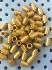 Lego Gold 1x1 Round Barrel Brick Cone Pieces New Lot Of 50
