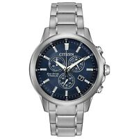 Citizen Men's Chronograph Blue Dial Titanium Bracelet 42mm Watch AT2340-56L