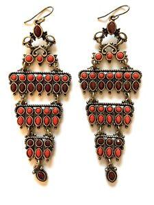 Earrings Lucky Brand chandelier drop red burgundy Linked movement E17