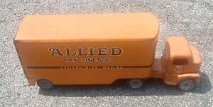 Vintage Tonka Allied Van Lines Semi Truck + Trailer, 1953 Cab Over