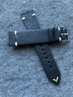 20mm Quick Release Black Cow Hide Leather Watch Strap Band US Shipped