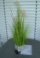 Lumida Flora künstlicher Allium mit Gräser im Zementtopf mit Timer ca 100cm Höhe