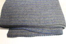 100% WOOL Danish Military Surplus Blanket Dark Grey w/Blue Stripes FREE Shipping