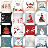 Christmas Theme Snowman Santa Pillow Case Cushion Cover Home Sofa Bed Car Decor