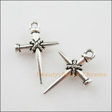 10Pcs Tibetan Silver Tone Nail Cross Charms Pendants 16x24mm