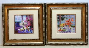 Pair of Suzanne Hoefler Art Prints Floral Arrangements with Frames & Glass Used