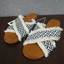 Universal Thread Women's Jupiter Cross Band Slide Sandals Cream Size 9 ~NEW~