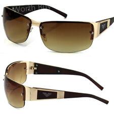 New Mens Rectangular Designer Brown Fashion Wrap Sunglasses Shades Golf Around