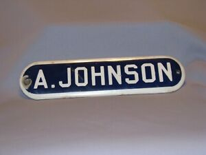 "Antique Enamel Porcelain Plate Sign ""A.Johnson""  Blue and White"