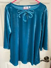 NWOT Quacker Factory Turquoise Crushed Velvet Sequined Tunic Top Size Large