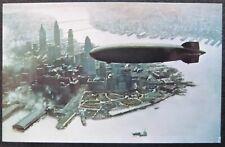 Vintage Airship Postcard Zeppelin/Hindenburg over  NewYork