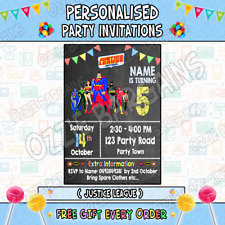 JUSTICE LEAGUE Personalised Birthday Party Invitations / Invites Party Supplies