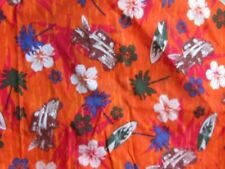 Orange fabric material sewing surfer surf boards and trucks beach floral novelty