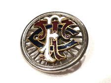 Bijou alliage doré broche insigne C M F émaillée brooch