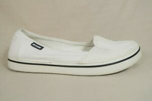 Crocs White Canvas Ballet Flats Loafers Slip On Shoes Womens Size 10