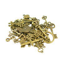 50pcs Old Fashioned Key Pendant for Necklace Bracelet Jewelry DIY Making