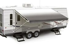"""19' Charcoal Fade w/Wht W/G, RV Patio Awning Repl. fabric canopy (Fabric:18'2"""")"""