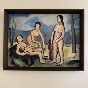 Northwest Artist Spencer Moseley Modernist Figures Oil University of Washington