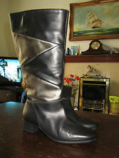 Black & Silver Leather Pitillos Knee High Boots in Size 7 - BNWOB - EUR 40