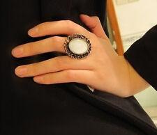 Large Oval Vintage Bronze Heart Sparkle Jewel Adjustable Ring - SHIPS FAST!