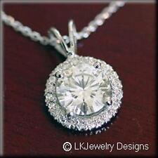 1.85CT MOISSANITE ROUND FOREVER ONE GHI HALO PENDANT