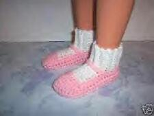 Pink Hand Crochet Slipper Socks Shoes For The My Size Barbie Doll