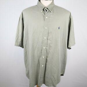 Ralph Lauren Blake Men's Green Short Sleeve Button Down Cotton/Silk Shirt Sz 2XL