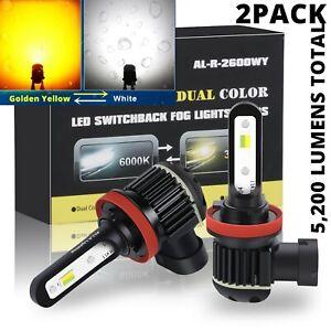2-Color LED Fog Light Bulbs for Honda Nissan, White ⇄ Yellow Switchback