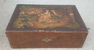 Antique Victorian Print Folding Portable Travel Writing Lap Desk Document Case