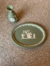 Wedgwood Jasperware Sage Green Trinket Dish & Single Stem Vase