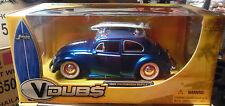 1959 VW BEETLE WITH SURF BOARD BLUE V DUBS  2006 JADA 1/24