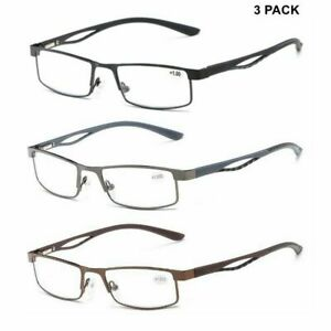 3 PACK Mens Reading Glasses Spring Hinges Business Readers Fashion +1.0 ~ 4.0 B