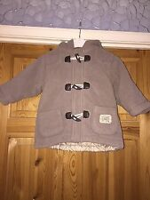 PUMPKIN PATCH Boys Beige Fleece Toggle Detail Hooded Coat Age 12m