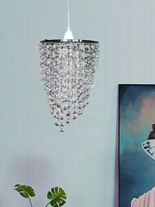 Pendant Shade Chandelier Polished Chrome Crystal Effect Metal Easy Fit Light