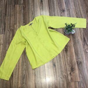 Flax Medium Green Linen Button Front Shirt Top Boxy Oversized Lagenlook