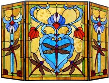 """44""""  Dragonfly Tiffany Style Stained Glass Fireplace Screen 3 PC Folding Decor"""