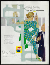 1954 Vintage Print Ad 50's PEPSI COLA illustration art mid century fashion image