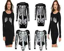 LADIES SKELETON SKULL ROSE HALLOWEEN WOMENS LEGGING BODY SUIT MIDI DRESS TUNIC