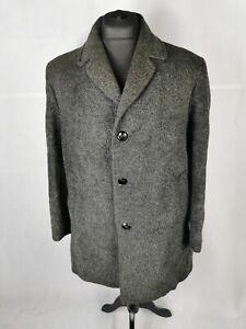 Mens Coat Size L True Vintage LLAMA WOOL Coat Grey Heavy Winter 80s