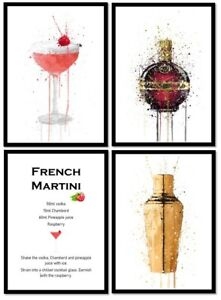 SET OF 4 French Martini cocktail quality WALL ART prints pictures A4 GLOSSY