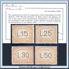 1927-28 San Marino Segnatasse Serie completa 28/31 Cert. Diena Nuovi Integri **