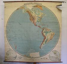 Schulwandkarte Wandkarte Amerika America Planiglobe map Erdhälfte ~1914 179x191c