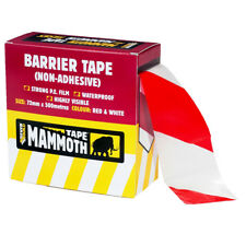 Everbuild Barrier Tape Hazard Safety Warning Red White Non Adhesive 500m x 72mm